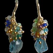 Swiss Blue Topaz Earrings with Zircons