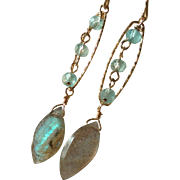 Aquamarine and Labradorite Gem Earrings with 14k Gold Fill