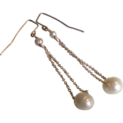 Freshwater Cultured Pearl Earrings with 14k Gold Fill or Sterling Silver Chain Through