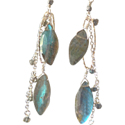 Labradorite Gem Earrings with Sterling Silver