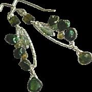 Green Tourmaline Gemstone Earrings