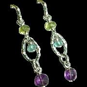 Amethyst, Peridot and Apatite Gemstone Earrings