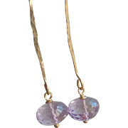 Pastel Amethyst Jewel Earrings on Hammered 14k Gold Fill Wires