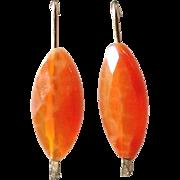 Red-Orange Agate Gem Earrings