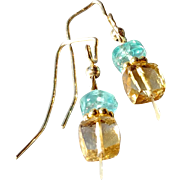 Citrine and Apatite Gemstone Earrings with 14k Gold Fill