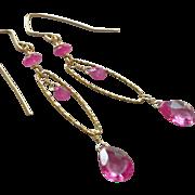 Pink Sapphire Gemstone Earrings