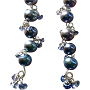 Midnight Star:Iolite and Freshwater Cultured Pearl Gem Earrings