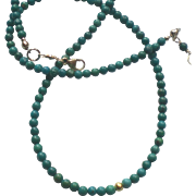 Petite Turquoise Gem Necklace with 20k Gold Bead