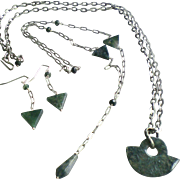 Moss Agate Gem Set: Two Layering Necklaces Plus Earrings