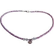 Ametrine and Herkimer Diamond Gemstone Necklace with Silverite