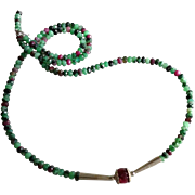 SOLD Ruby in Zoisite Gem Necklace with Center Ruby and Sterling Silver