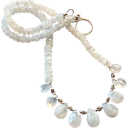 Glimmering Moonstone Gem Necklace with Gray Diamonds and Sterling Silver