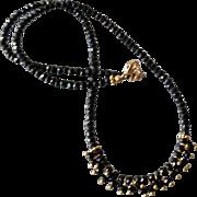 Black Spinel Gemstone Necklace with 18k Gold Vermeil