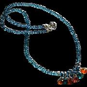 Vivid London Blue Topaz and Tourmaline Gemstone Necklace