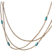 Single Layering Chain Necklace with Turquoise