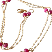 Petite Ruby and 14k Gold Fill Gemstone Necklace