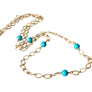 Turquoise Gem Adjustable Length Layering Necklace