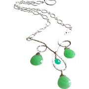 Festoon Necklace with Chrysoprase Gems and Sterling Silver