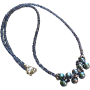 Midnight Star:Iolite and Freshwater Cultured Pearl Gem Necklace