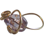 SOLD Amethyst Gem Cocktail Ring, Wire-Wrapped with 14k Gold Fill
