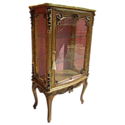 SOLD Italian Antique Carved Display Case China Cabinet Vitrine!