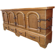 Fabulous Spanish Antique Rustic Oak Sideboard with Iron Accents!