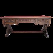 SOLD Antique Furniture French Antique Gothic Carved Oak Desk!