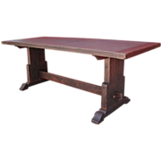 Antique Furniture Spanish Antique Trestle Table Mission Arts and Crafts Table!