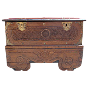 Spanish Antique Carved Trunk Treasure Chest Pirate's Chest!