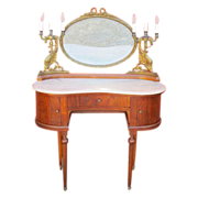 SALE Antique Furniture Fabulous French Antique Marble Top Vanity with Bronze Mirror and ...
