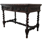 Antique French Two Drawer Dark Console