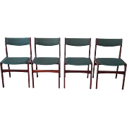 Mid-Century Modern Dining Chairs Rosewood Set of Four