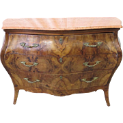French Antique Marble Top Bombe Commode Dresser