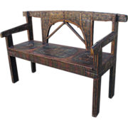 SOLD Antique Renaissance Painted Bench Settee