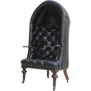 English Antique Leather Chesterfield Porter's Chair