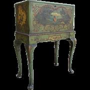 Antique Hand Painted Drop Front Desk