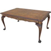 1920's Italian Chippendale Style Walnut Dining Table