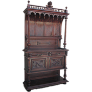 French Antique Gothic Server Hutch Sideboard Antique Furniture