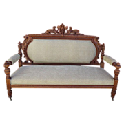 Antique Horner Brothers Settee Bench Sofa Couch Gothic Griffin Antique Furniture