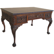 SOLD 19th Century Carved Chippendale Desk with Pawed Feet Antique Furniture