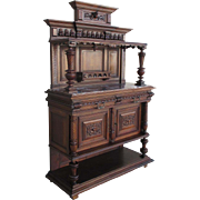 SOLD French Antique Marble Top Gothic Server Sideboard Cabinet
