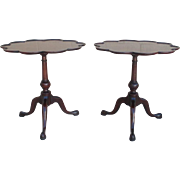Elegant Pair of Antique Mahogany Pie Crust Side Tables Lamp Tables