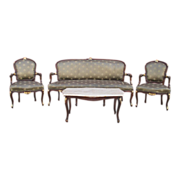 SOLD Vintage French Settee Armchairs and Coffee Table Antique Furniture