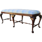SOLD Antique Mahogany Queen Anne Six Leg Upholstered Bench!