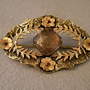 SOLD Victorian Brass Open-Work Brooch w/Colored Glass Sets