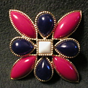 Emmons Gold-Tone with Red, White & Blue Cabochon Brooch