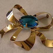 Sterling Silver & Gold Vermeil Bow-Shape Brooch w/Faux Sapphire Setting