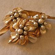 Coro Vendome Gold-tone Brooch w/Faux MOP & Pearl Flowers