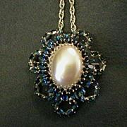 Coro Vendome Silver-Tone, Faux Pearl & Blue Rhinestone Pendant Necklace