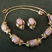Reja Gold-Tone & Faux Opal Cabochon Necklace & Clip Earrings Demi-Parure